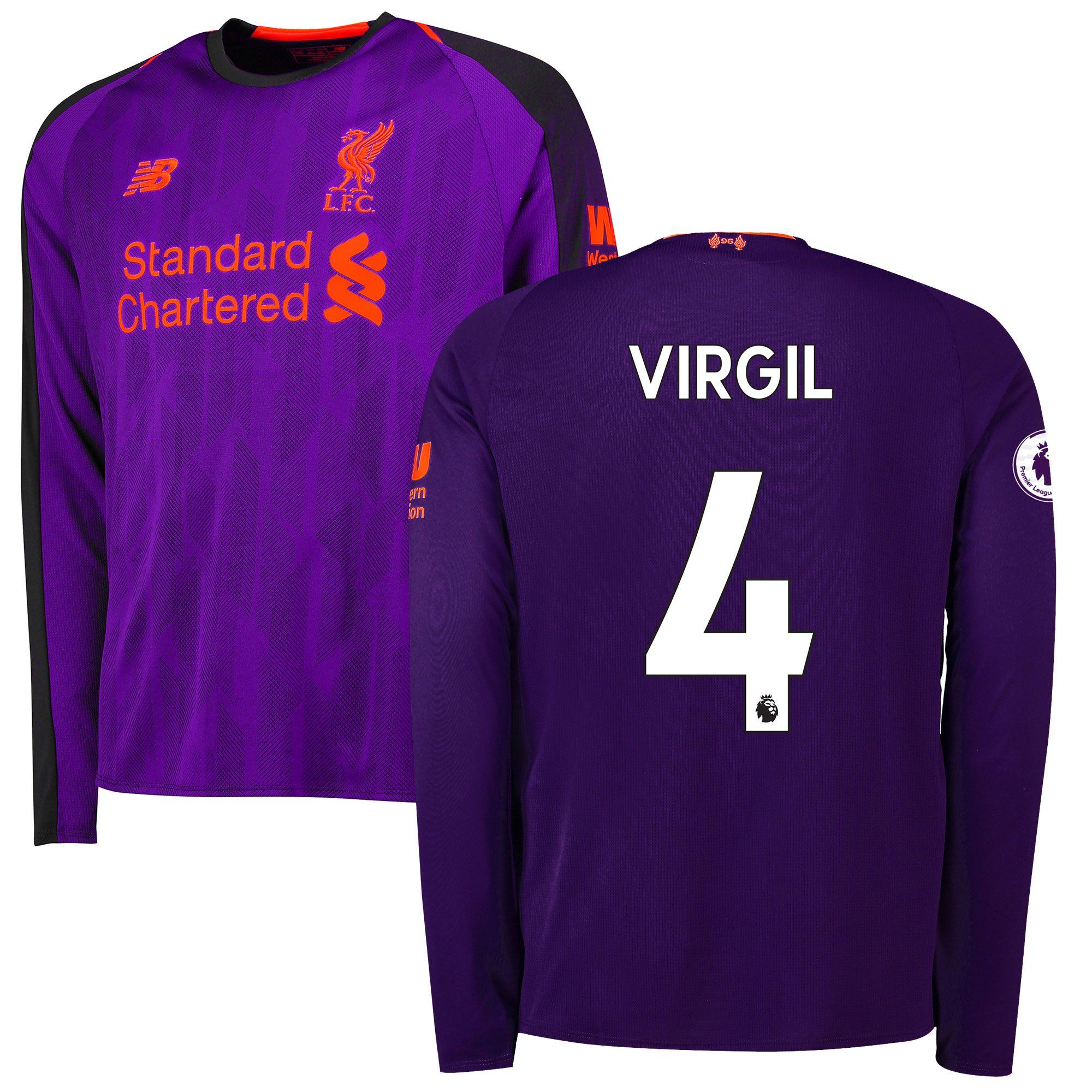 online store 45425 ecad8 Virgil Van Dijk Liverpool New Balance 2018/19 Away Replica ...