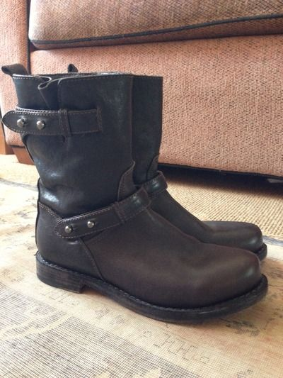 Rag & Bone motorcycle boots in brown. badass