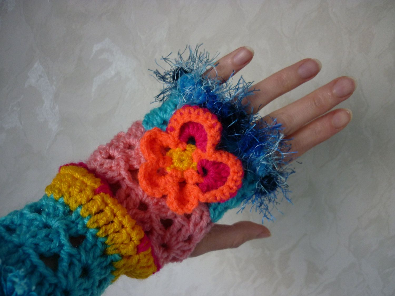 Pattern fingerless gloves crochet arm warmers with