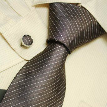 Brown Striped Designer Ties for Men Fathers Day Gifts Italian Style Silk Tie Cufflinks Set 5214