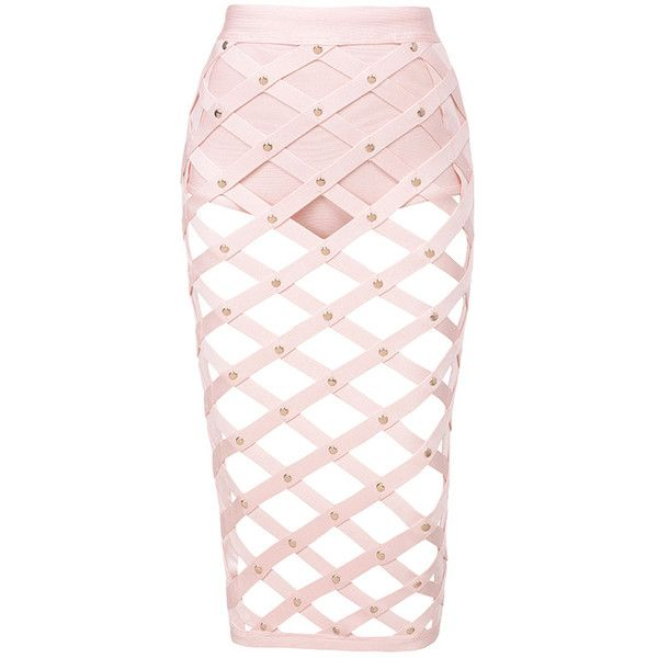 4144704a66fc 'Izumi' ❤ liked on Polyvore featuring skirts, bottoms, pink skirt, bandage  skirt, cage skirt and pink bandage skirt. '
