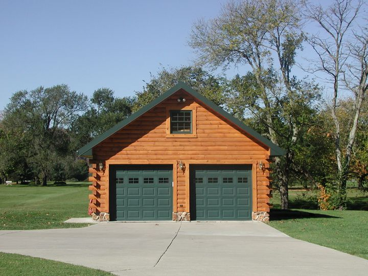 Custom detached log siding garage with full log siding for Custom detached garage