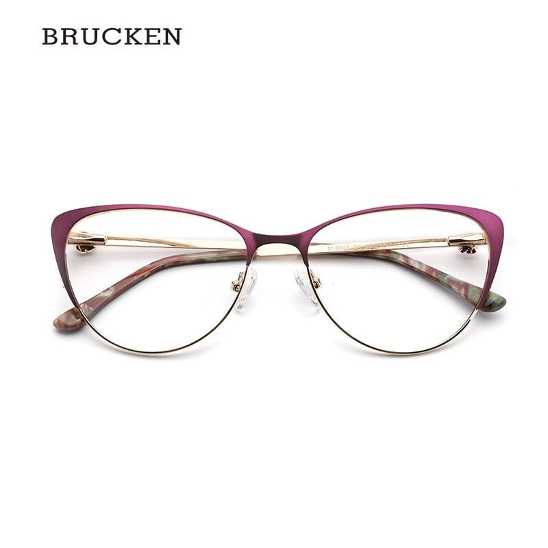 Photo of Brucken Metall Frauen Metall Brille Rahmen Cat Eye Brille Frauen Myopia Optical Clear Eyeglasses Frame 8045