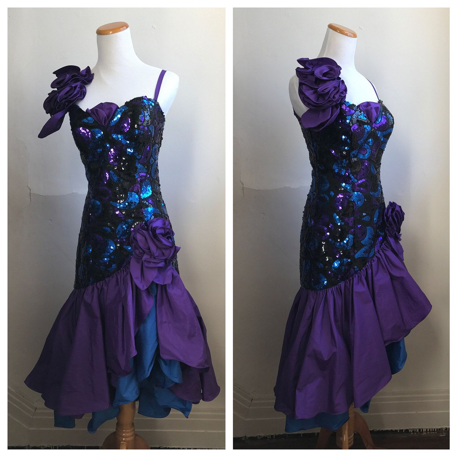 Vintage 80s Prom Dress | Purple Sequin Prom Dress | Retro Gown ...