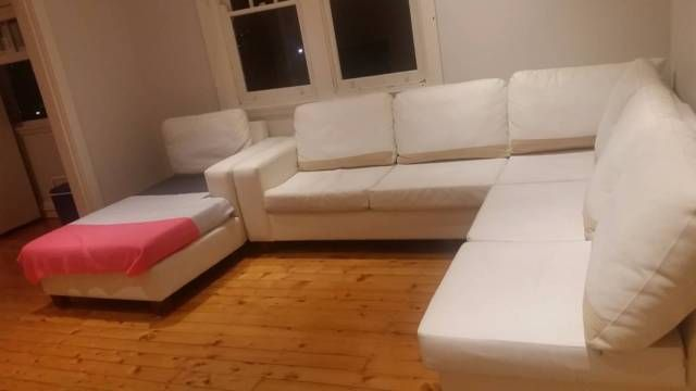 Lovely Comfortable White Leather Sofa For Previous Owner Tried To Clean With Bleach And Therefore