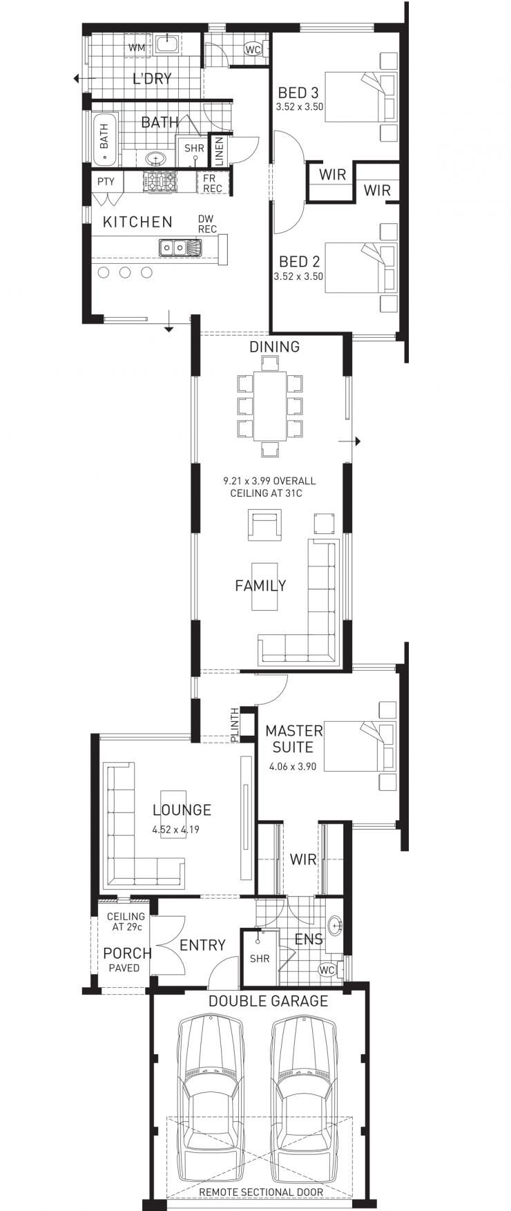 Colonnade Single Storey Narrow Home Floor Plan Wa Narrow House Plans Narrow Lot House Plans Narrow House Designs