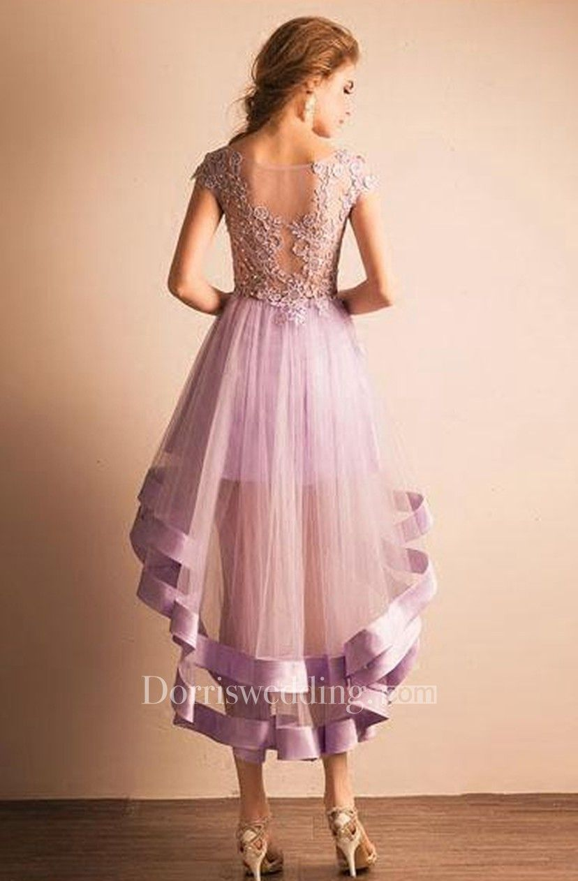 6a75507b367 Cap-sleeved V-neck High-low Dress with Lace - Dorris Wedding