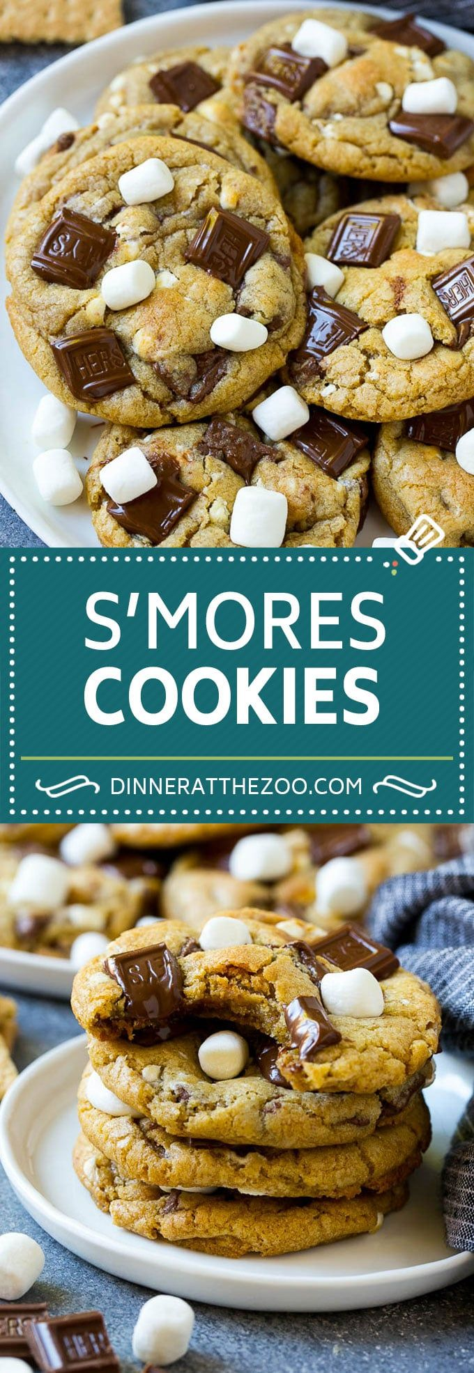 S'mores Cookies #chocolatemarshmallowcookies