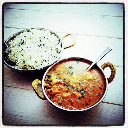 Panner and potato  zeera rice (Instagramで撮影)