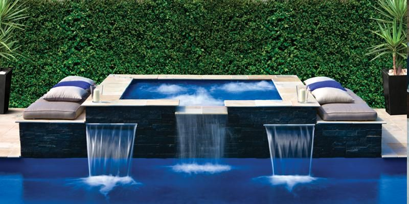 Rectangle pool with square hot tub the sorrento spa is a modern contoured spa with - Rectangle pool with water feature ...