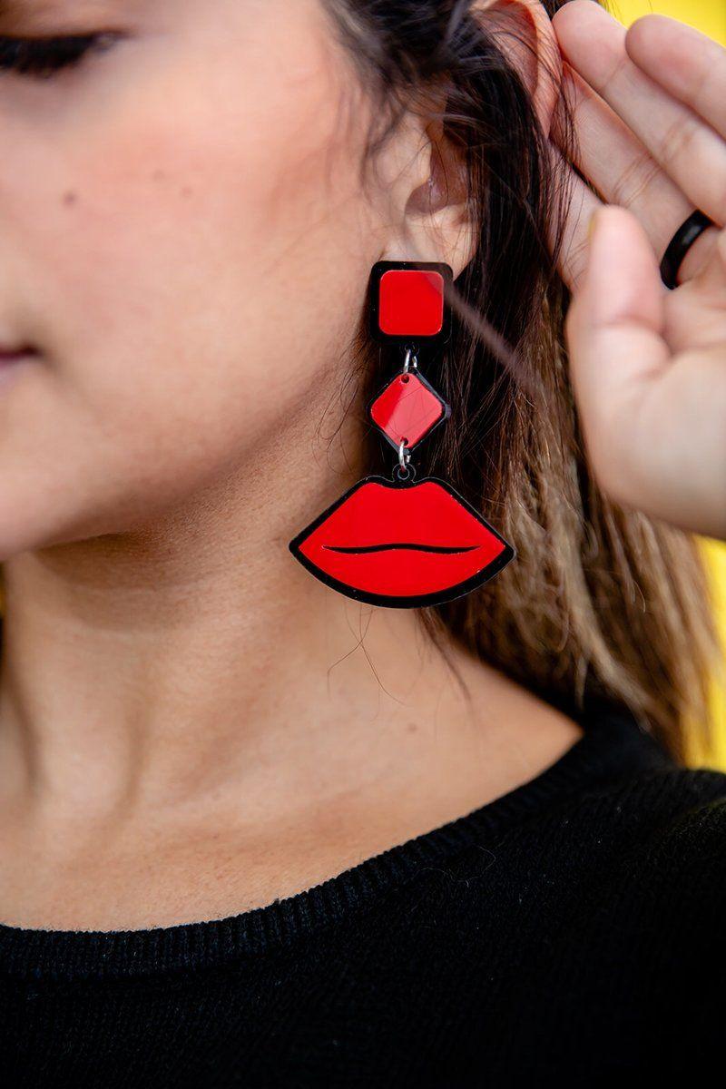 Sassy Red Lip Earrings Red Lips Earrings Red