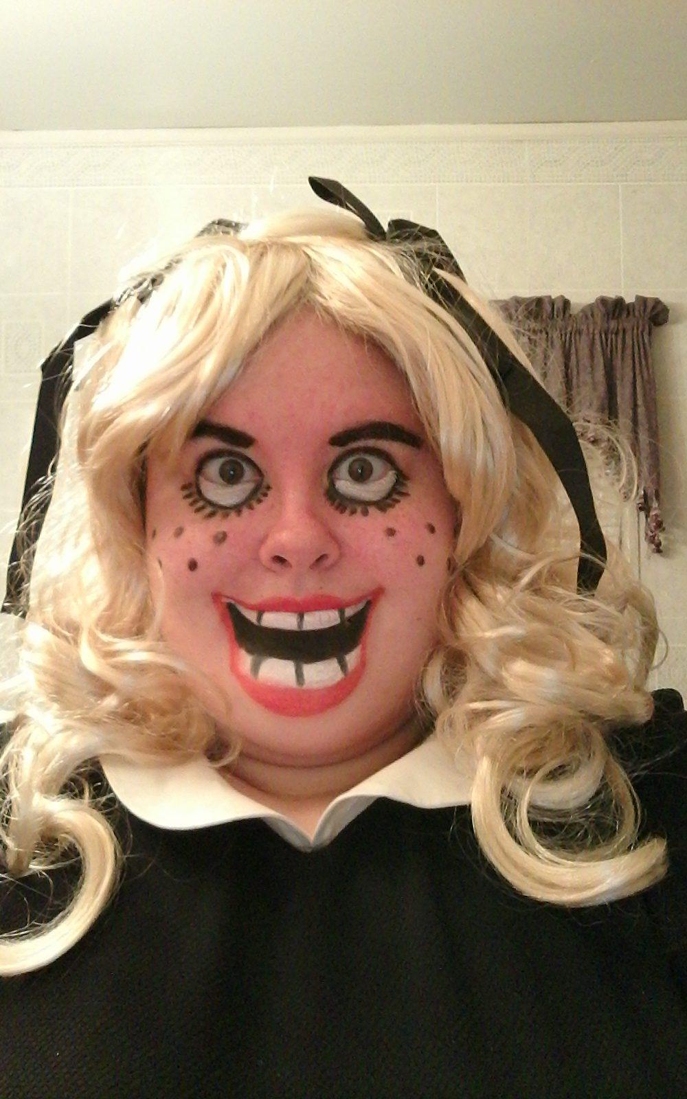 DIY Creepy Baby Doll Costume and Makeup Creepy baby
