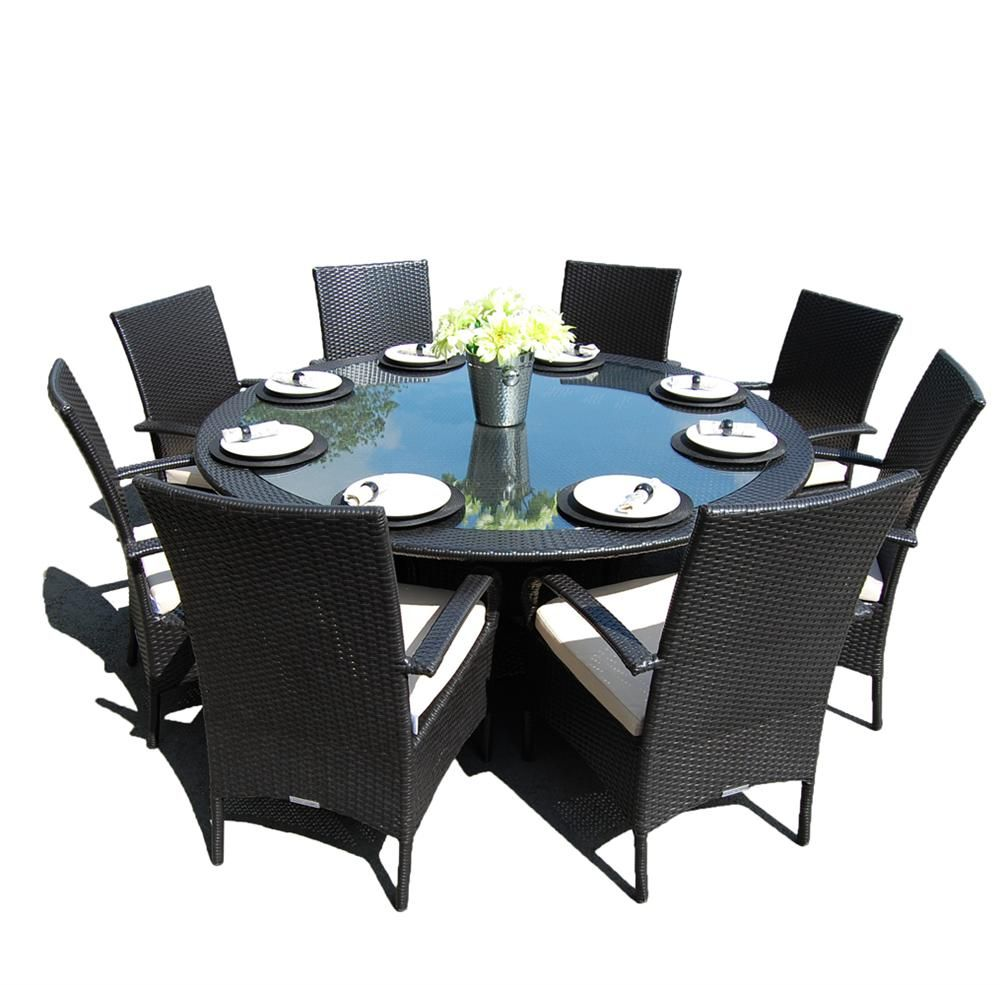 Kingston 8 Seat Outdoor Circular Dining Set Black U003e Circular Dining Sets