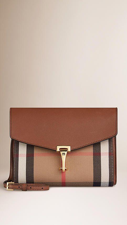 Tan Small Leather and House Check Crossbody Bag - Image 1