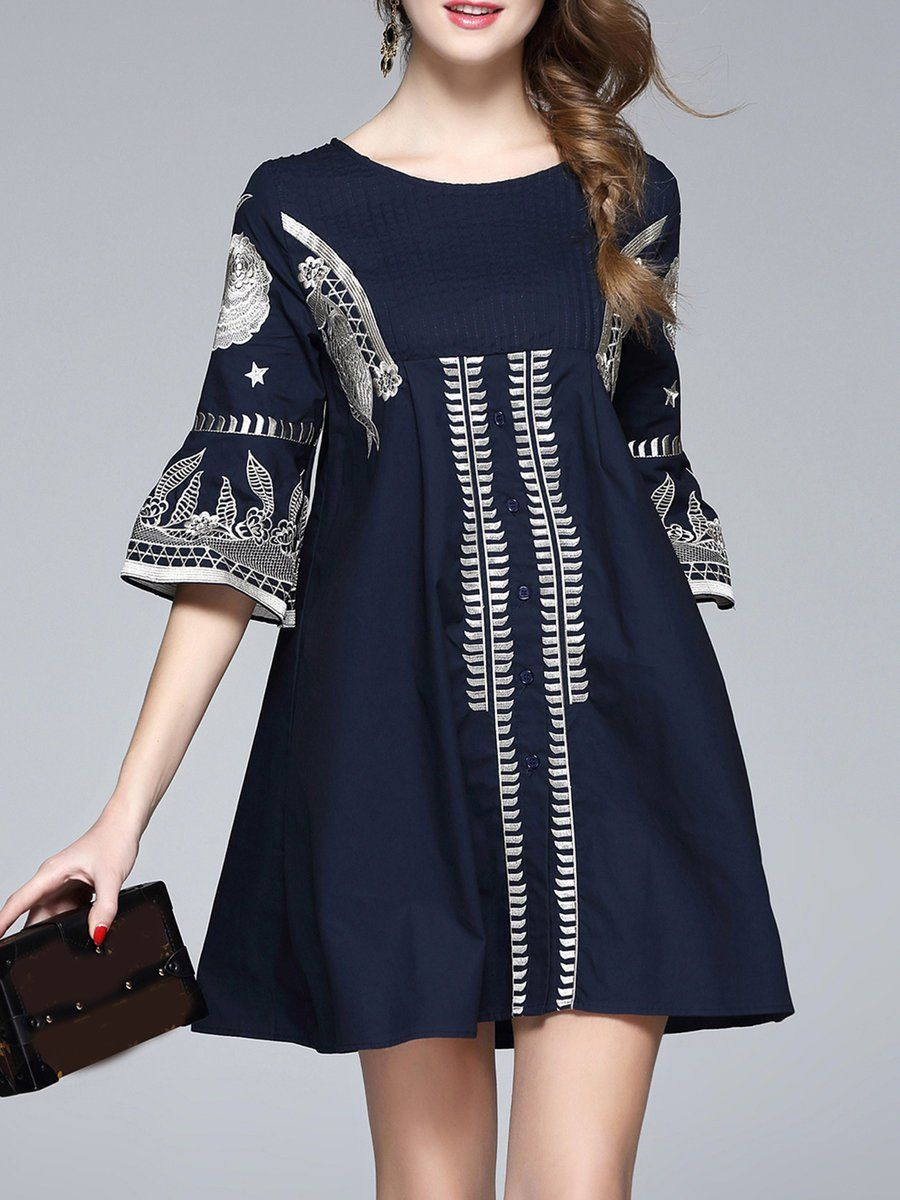 #AdoreWe #StyleWe Designer Mini Dresses - Designer YASHIYUE Navy Blue Embroidered Crew Neck Balloon Sleeve Abstract Mini Dress - AdoreWe.com
