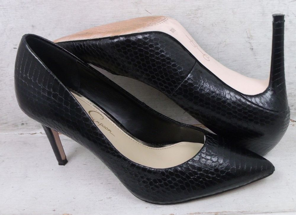 7c6c5e996b82 Jessica Simpson Womens Carpena Black Embossed Heels Pumps Shoes sz 7 M US  37 EU