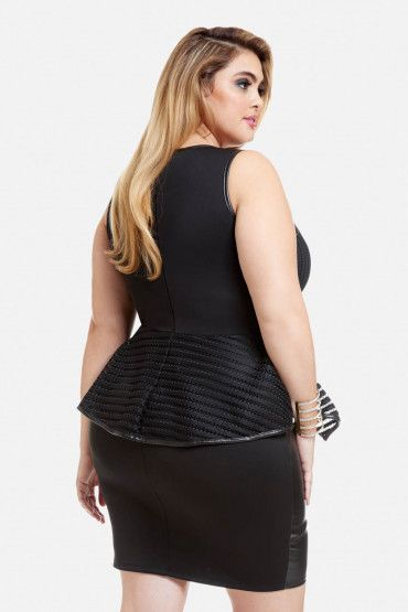 Plus Size Naomi Faux Leather Peplum Dress Curvy Pinterest