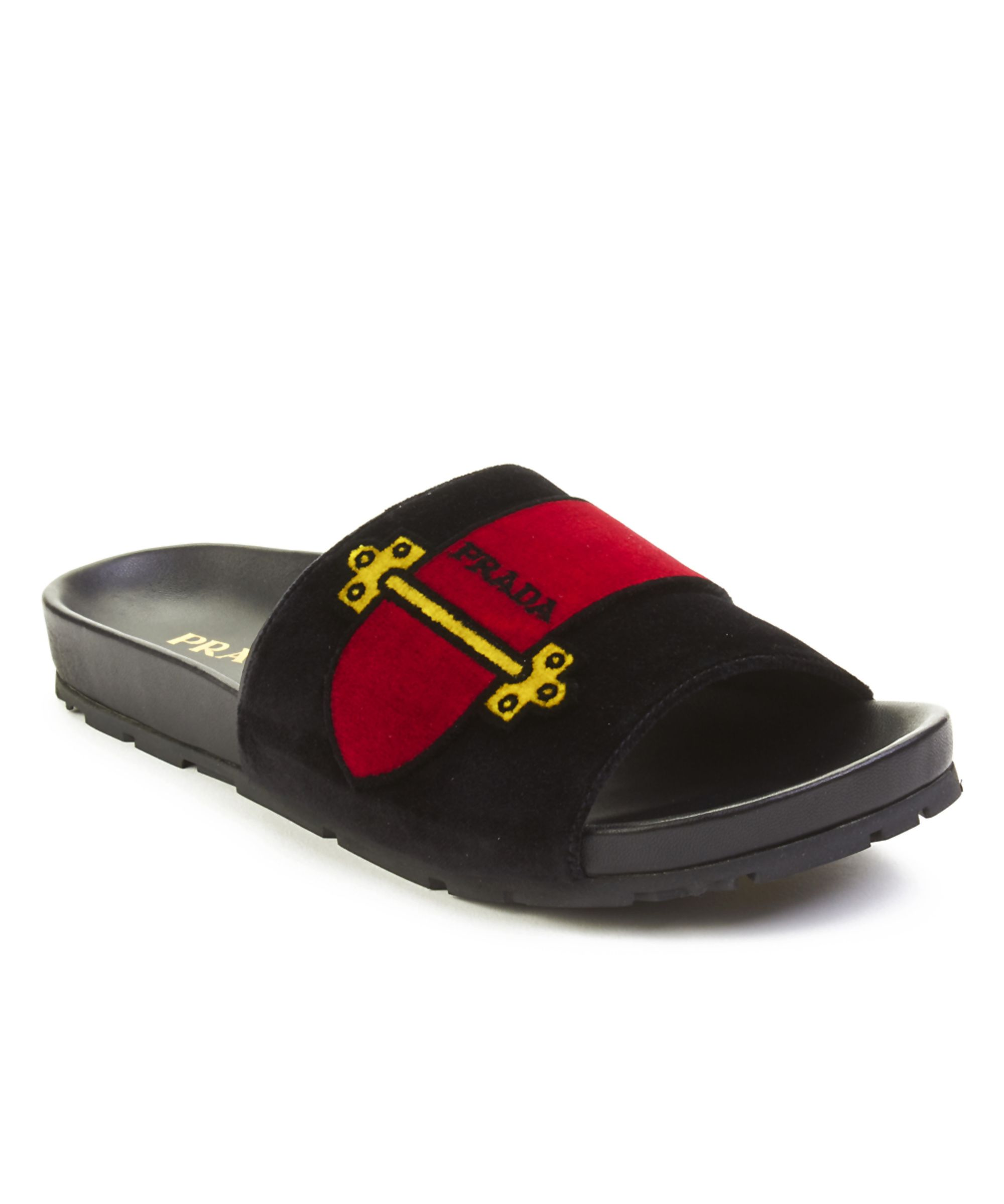 PRADA | Prada Women\'s Leather Velvet Slide Sandal Shoes Black #Shoes ...