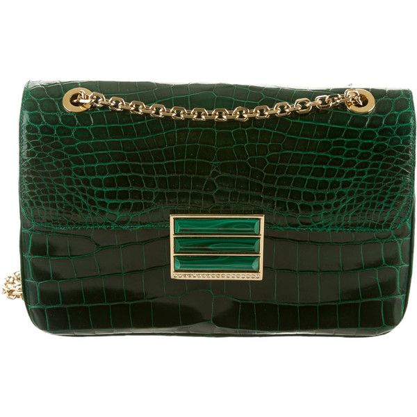 Pre-owned Judith Leiber Crocodile Flap Bag ($3,500) ❤ liked on Polyvore featuring bags, handbags, shoulder bags, green, preowned handbags, purse shoulder bag, crocodile handbag, hand bags and crocodile purse