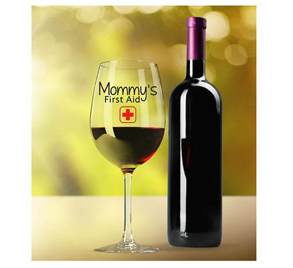 Funny Mom Wine Glass - Mommy's First Aid - Personalize or Customize in Your Choice of Colors - TillyJeanDesigns.com