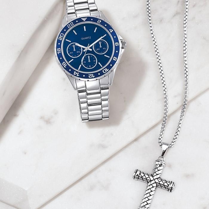 Men's Blue Accent Link Watch by Avon