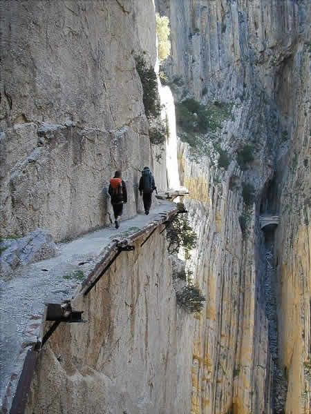 The 'Desfiladero de los Gaitanes' limestone gorge, near the village of El Chorro located in southern Spain. The gorge is famous for the very dangerous path called Caminito del Rey (King's little pathway).