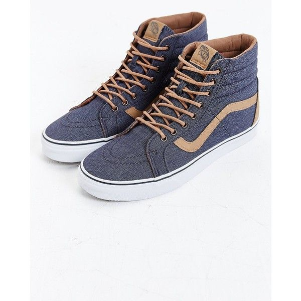 Vans Sk8-Hi Reissue Denim Sneaker ($70) ❤ liked on Polyvore featuring mens