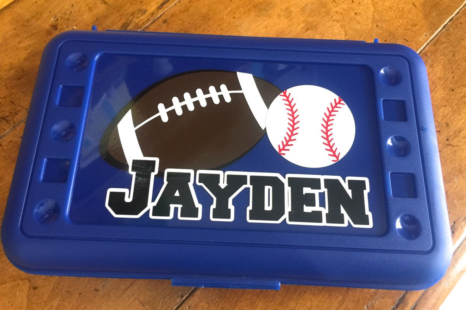 Personalized Pencil Box / Art Supply Container /  Sports Fans choose your favorite sport and team colors by MonogramCollection on Etsy