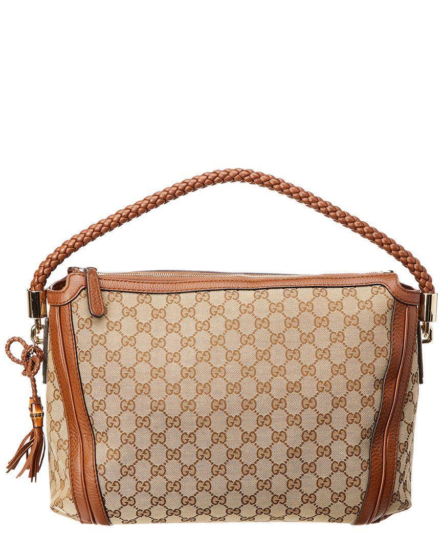 Gucci Brown Gg Supreme Canvas   Leather Hobo Bag  4781317680313