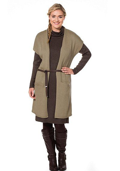 sheego Casual Longstrickjacke - beige | sheego XXL-Mode