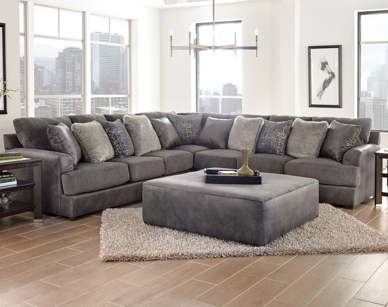 Cortland Sectional Set Graphite Sectional Living Room Small