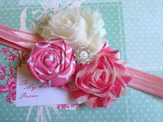 Pink and White baby headbands flower headband photo by chicnclassy