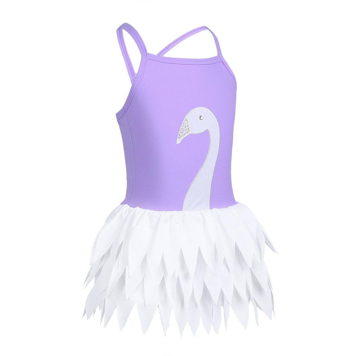Freebily Little Big Girls Swan Flower Ruffles Tutu Ballet Leotard Dress One-Piece Swimsuit Camisole Bathing Suit