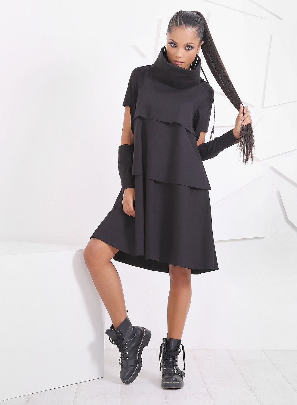 Extravagant Turtleneck Dress/ Loose Dress/ Black Dress/ Midi Dress ...