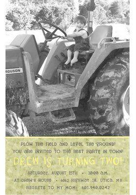 John Deere Tractor Invitations Baby Face Design John Deere