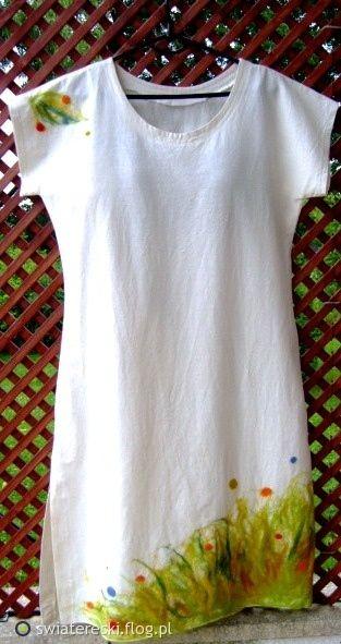 Sukienka Wiosna Len Filc Filcowanie Na Sucho Fotoblog Swiatereski Flog Pl T Shirts For Women Mens Tshirts Fabric Painting