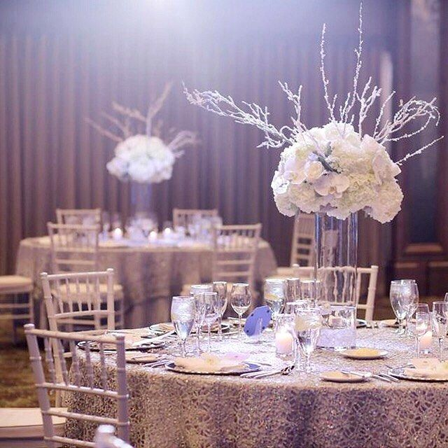 """""""Romantic #weddingreception that the lovely couple DIY'd themselves! Our silver chemical lace #tableoverlays look magical in this mountainside venue. 😌 (📷: Pepper Nix Photography) . . . . #wedding #weddingdecorations #bride #weddingplanner #eventplanner #partyplanner #cvlinens #bridetobe #partydecor #eventplanning #eventdecor #eventdesign #tabledesign #weddingdecor #luxurywedding #luxuryevents #sequinlinen #weddinginspo #weddinginspiration"""" by @cvlinens"""