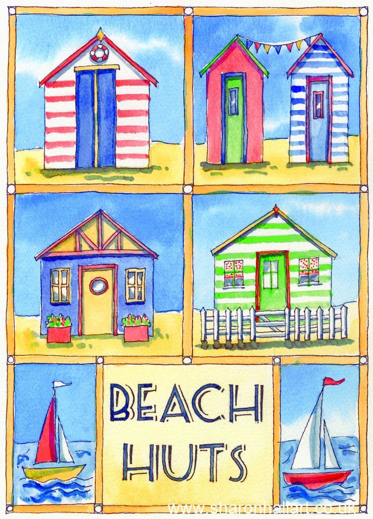 Beach huts watercolour and ink painting by sharon hall