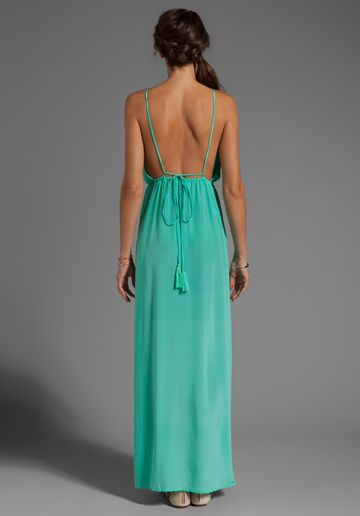 INDAH | River Silk Crepe Split Front Wrap Side Maxi Dress With Adjustable Tie Back in Aqua