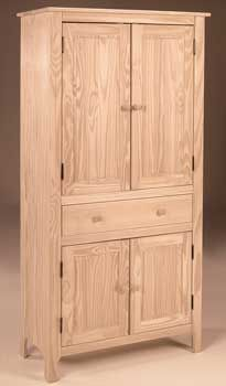 Pine Country Cupboard Features: 3 Adjustable Shelves, Available with glass or wood door inserts (35x16.5x72.25). Price: $499.00. Remove upper cupboard doors.