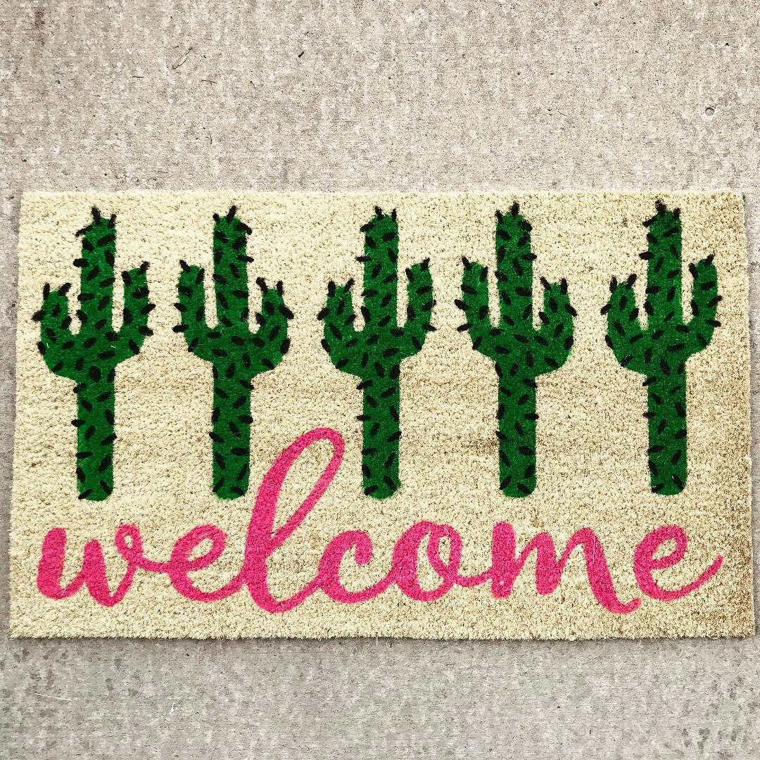 Cactus Welcome Mat Nice Find For Friends In Arizona