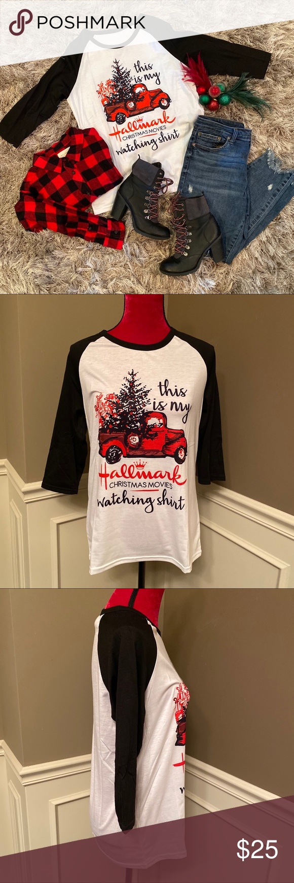 HALLMARK CHRISTMAS MOVIES SHIRT (Black/White) NEW