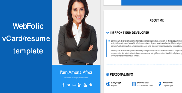 Resume Website Template Webfolio Vcardresume Template  Template Website Themes And