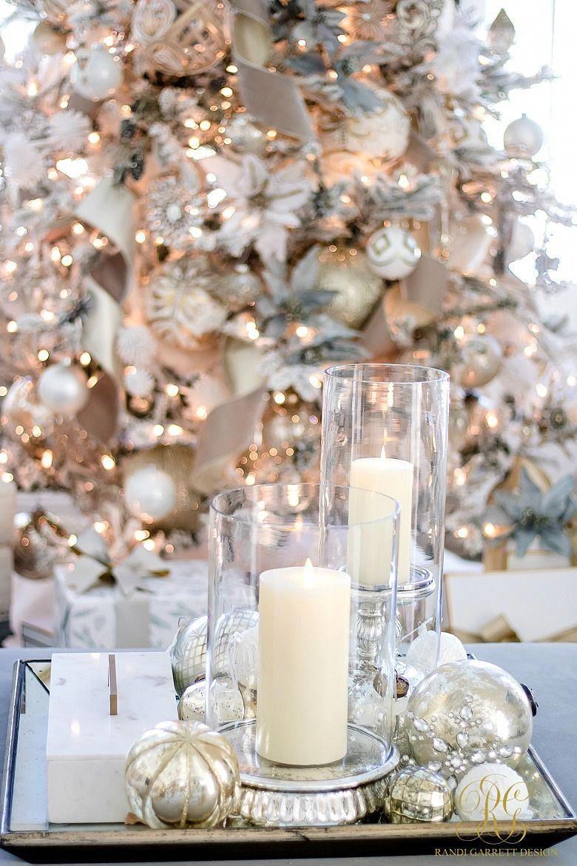 Christmas Home Tour 2017 Silver And Gold Christmas Family Room Coffee Table Gold Christmas Decorations Elegant Christmas Decor Christmas Coffee Table Decor