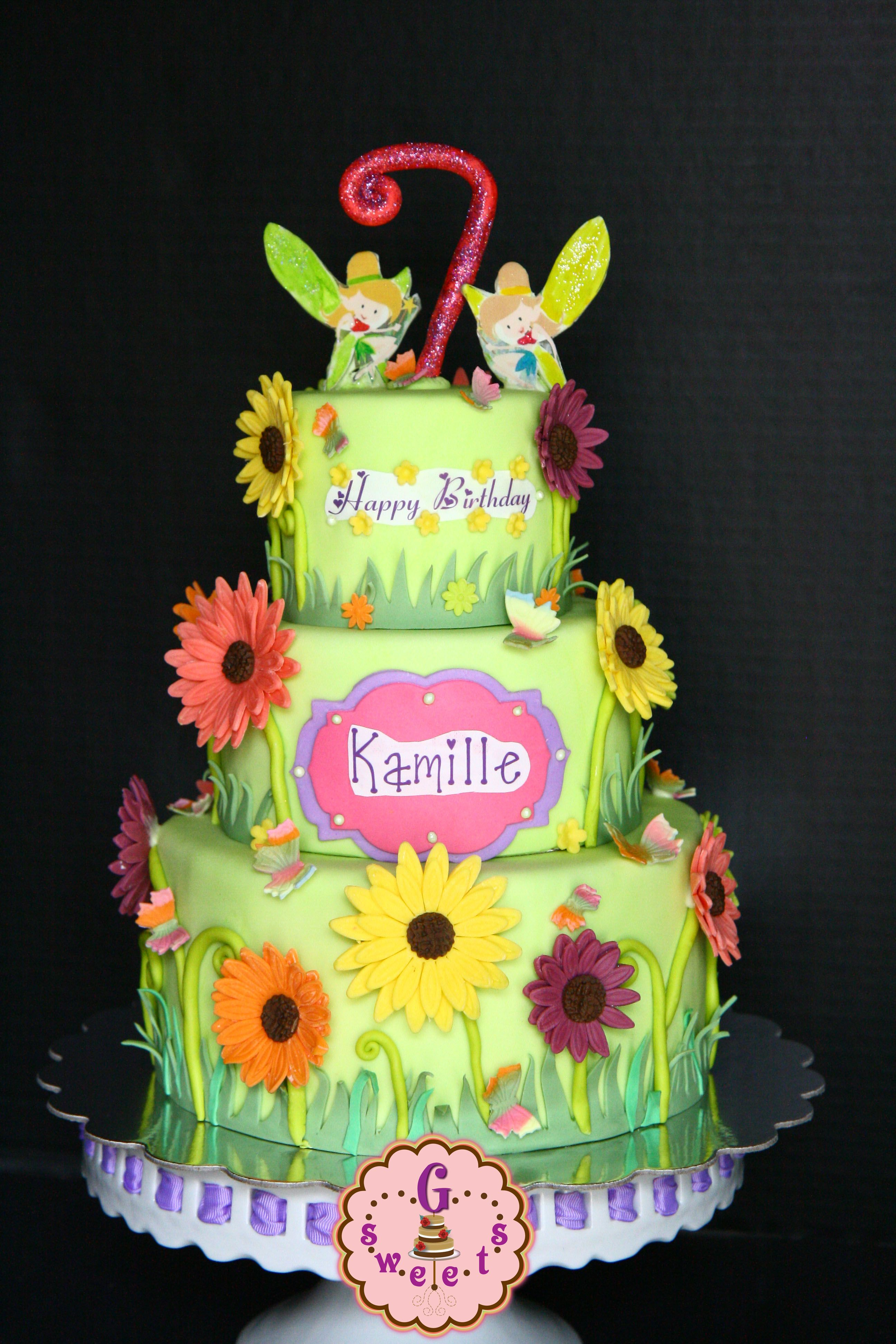 Garden-Fairy Themed Cake using candy clay (wilton candy melts + corn ...