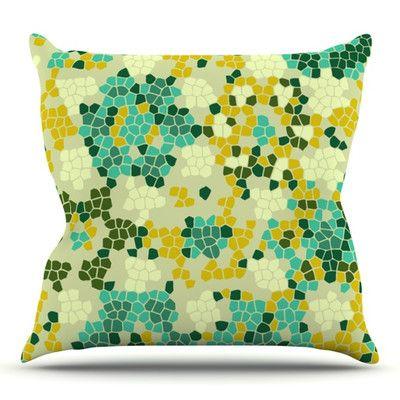 East Urban Home Flower Garden Mosaic by Laura Nicholson Outdoor Throw Pillow