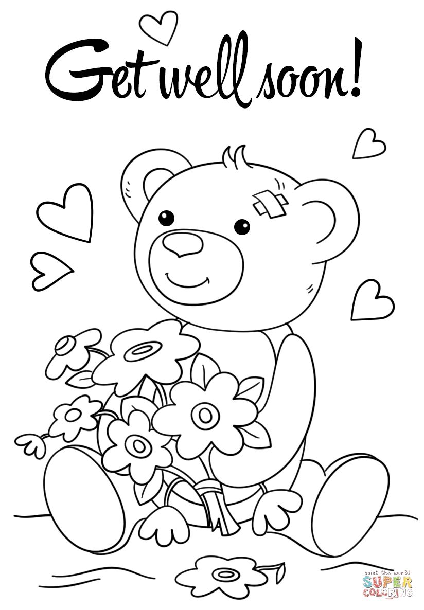 Get Well Soon Coloring Pages Gallery In 2020 Cute Coloring Pages Teddy Bear Coloring Pages Coloring Pages For Kids