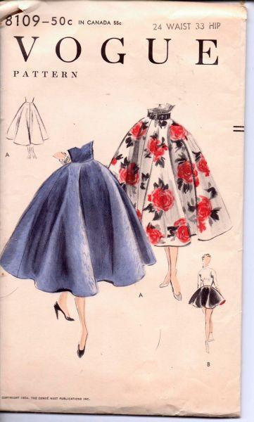 Vogue 8109 Vintage 1950s Sewing Pattern Ladies Full Circle Skirt