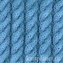 Схема вязания узора жгут спицами