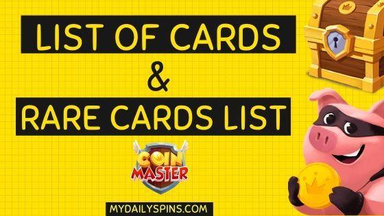 coin master kartensammlung liste
